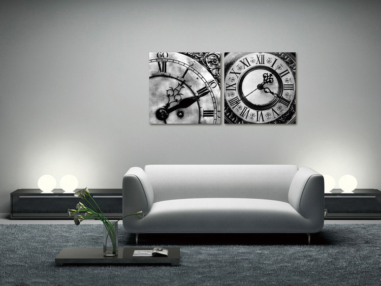 Designer clocks (B&W) Mounted Art Print