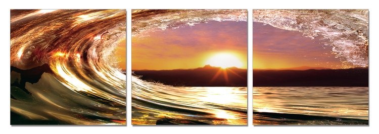 Falling tide - Sunset Mounted Art Print