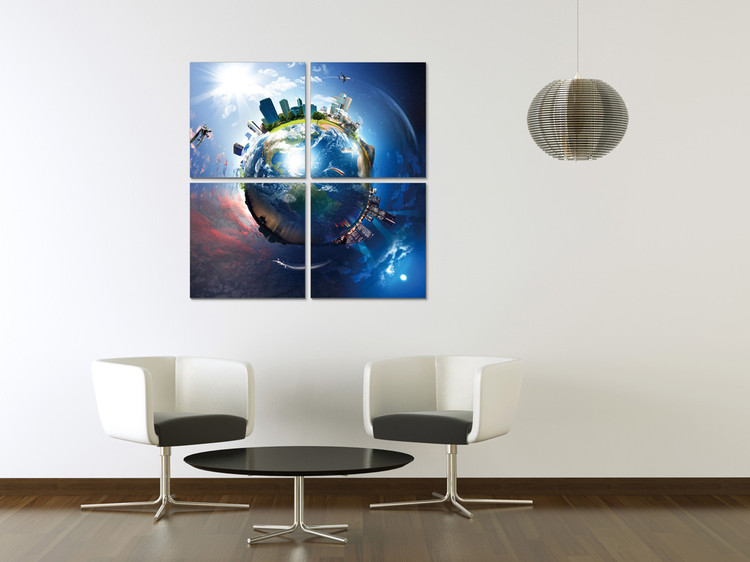 Globe from space Mounted Art Print