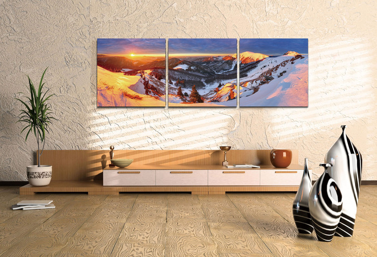 Golden sunset over the mountains Mounted Art Print
