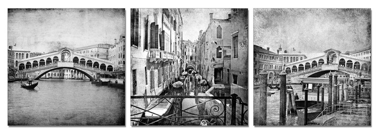 Gray city street Mounted Art Print