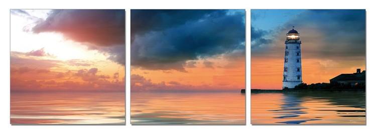 Lighthouse at sunset Mounted Art Print