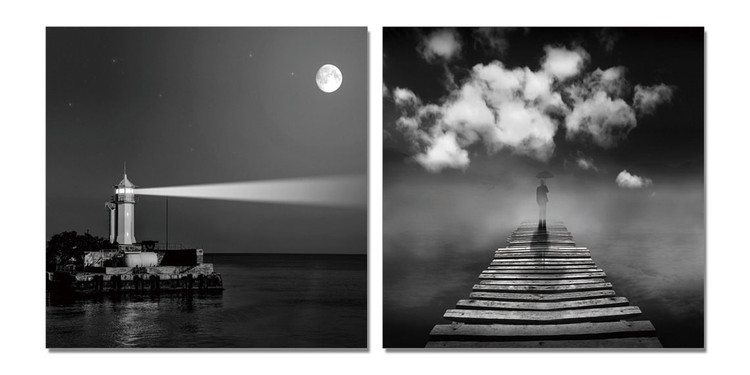 Lighthouse gray Mounted Art Print