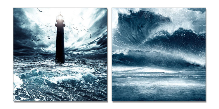 Lighthouse in storm Mounted Art Print