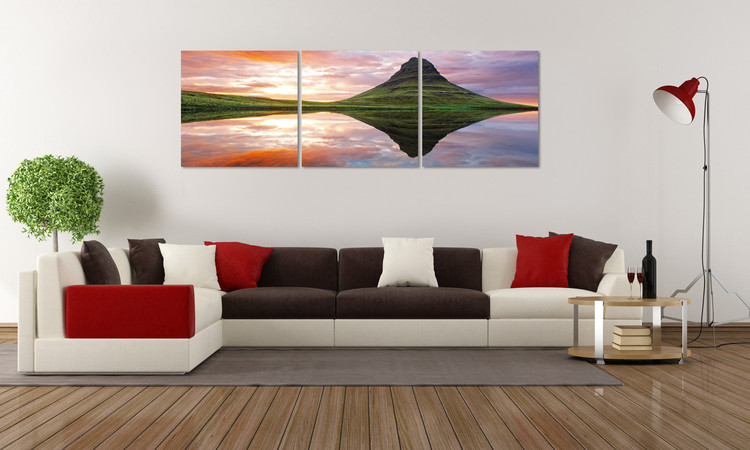 Mirroring the landscape on the lake Mounted Art Print