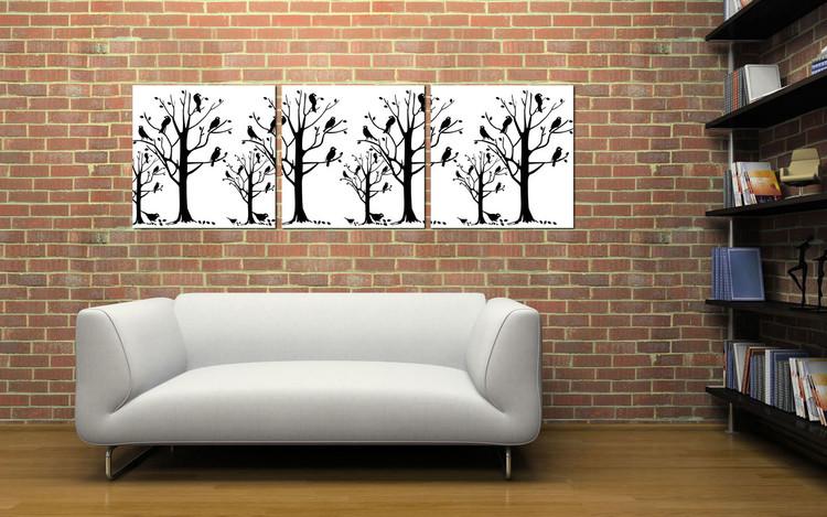 Modern design - black trees Mounted Art Print