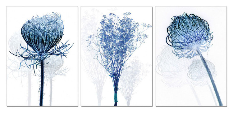Modern Design - Blue Flowers Mounted Art Print