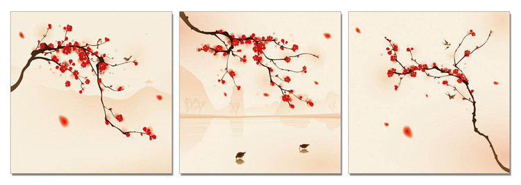Modern Design - Branches with Blossoms Mounted Art Print