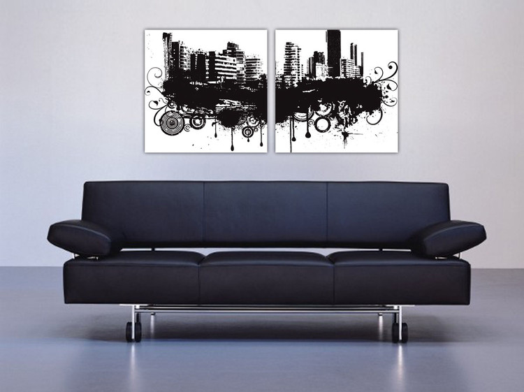 Modern Design - City in Clouds Mounted Art Print