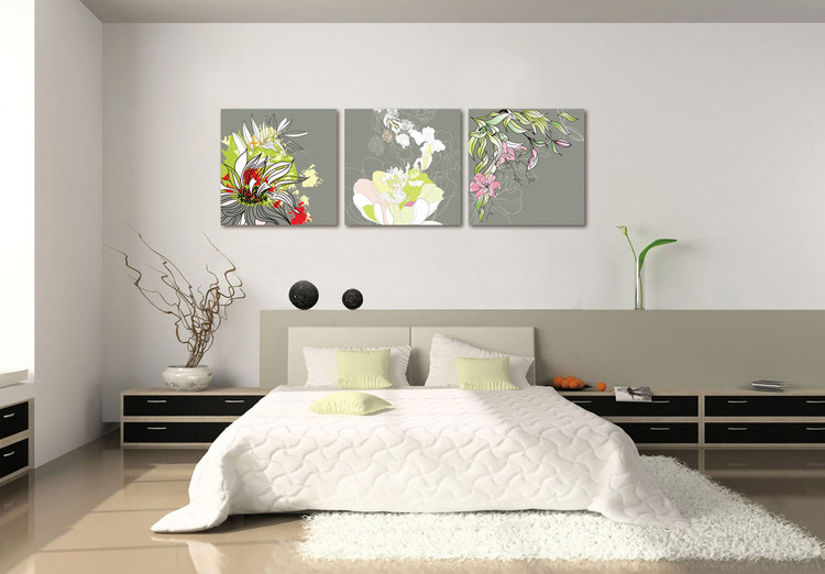 Modern Design - Colorful Blossoms Mounted Art Print