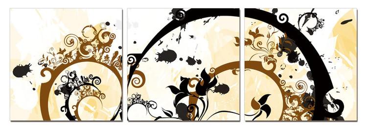 Modern Design - Flower Spirals Mounted Art Print