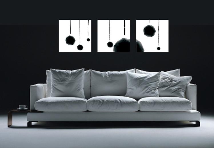 Modern Design - Hanging Balls (B&W) Mounted Art Print
