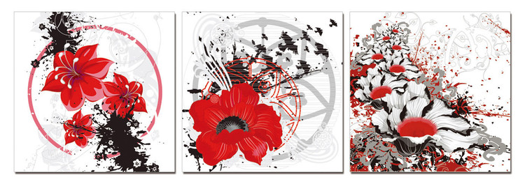 Modern design - red flowers Mounted Art Print