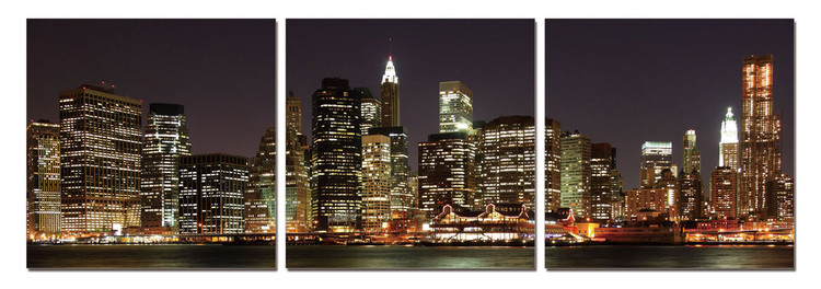 New York - Manhattan at Night Mounted Art Print