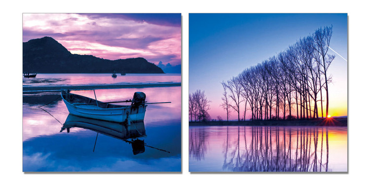 Night landscape with water Mounted Art Print