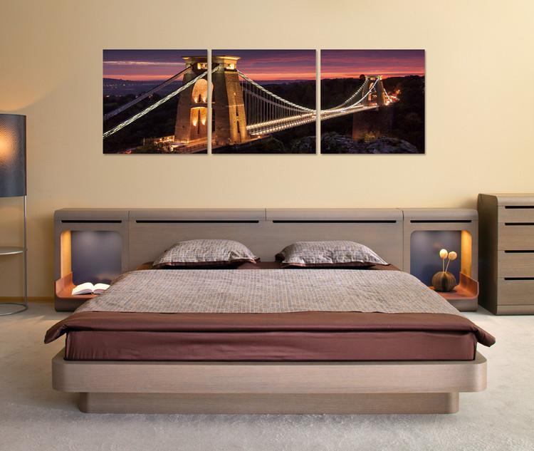Night panorama with bridge Mounted Art Print