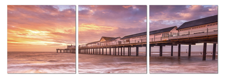 Pier at sunset Mounted Art Print