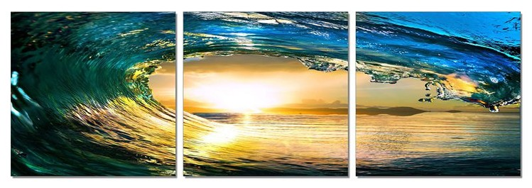 Rushing wave in the sun Mounted Art Print