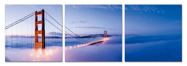 San Francisco - Golden Gate in Mist Mounted Art Print