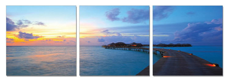 Sea Pier during sunset Mounted Art Print