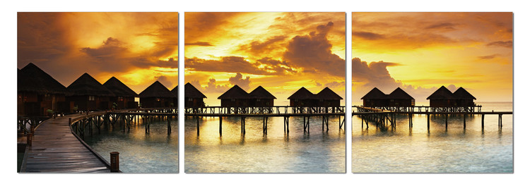 Silhouettes of cabins at sea Mounted Art Print