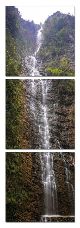 Sinuous waterfall Mounted Art Print