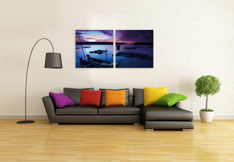 Small boats in the sea at night sky Mounted Art Print