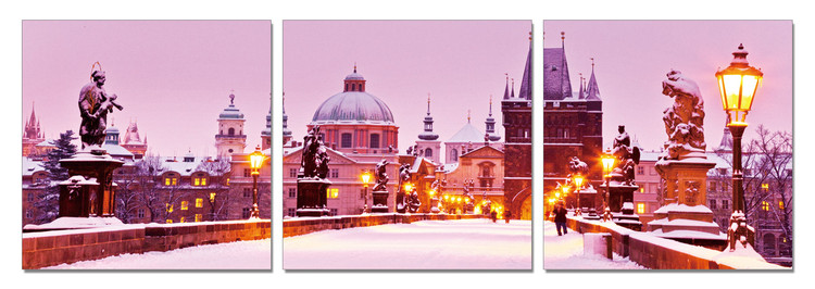 Snowy city Mounted Art Print