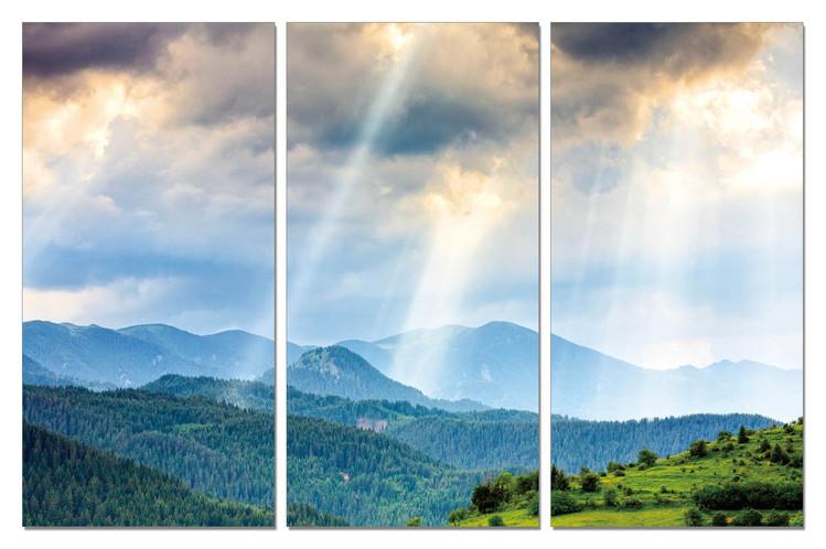 Sun rays through clouds Mounted Art Print