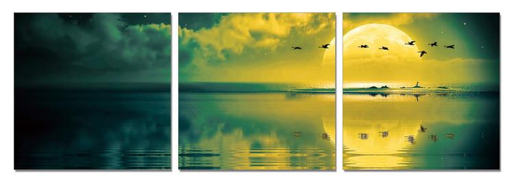 Sun welcoming - birds Mounted Art Print