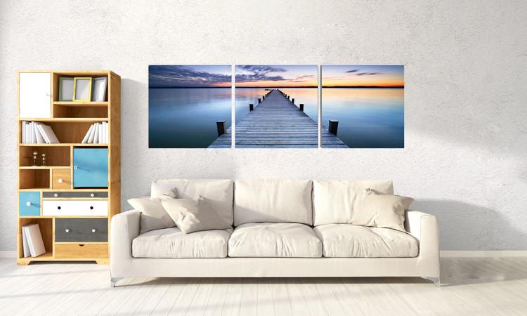 Sunshine over pier Mounted Art Print