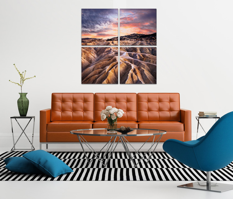 The mountainous landscape in the sunset Mounted Art Print