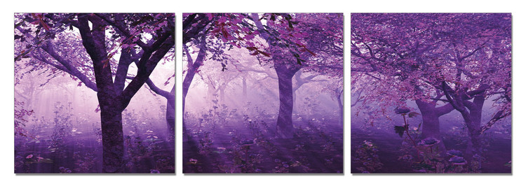 Trees in purple Mounted Art Print