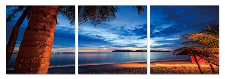 Twilight over palm trees Mounted Art Print