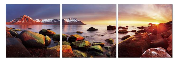 Vibrant stones on coast Mounted Art Print