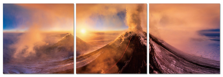 Volcano at sunrise Mounted Art Print