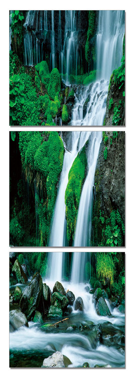 Waterfall in countryside Mounted Art Print