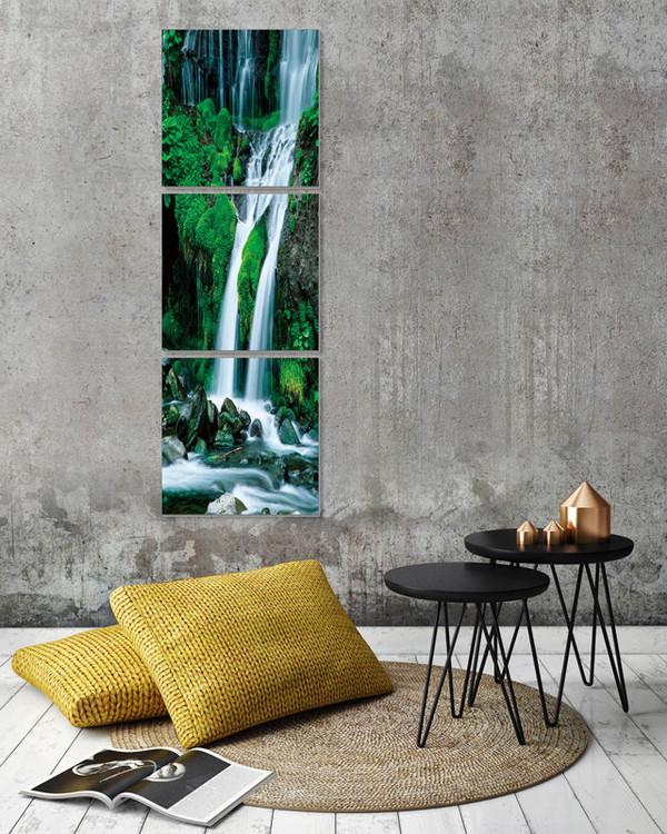Waterfall in countryside Mounted Art Print