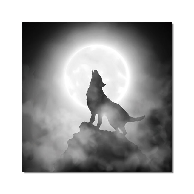 Wolf howling to the moon Mounted Art Print
