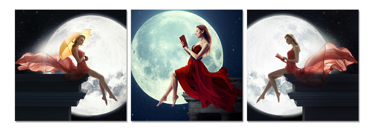 Women's profile in the moonlight Mounted Art Print