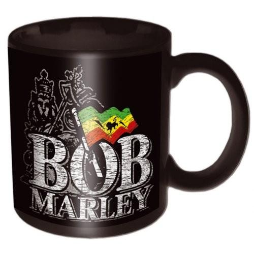 Bob Marley – Distressed Logo Black Mug