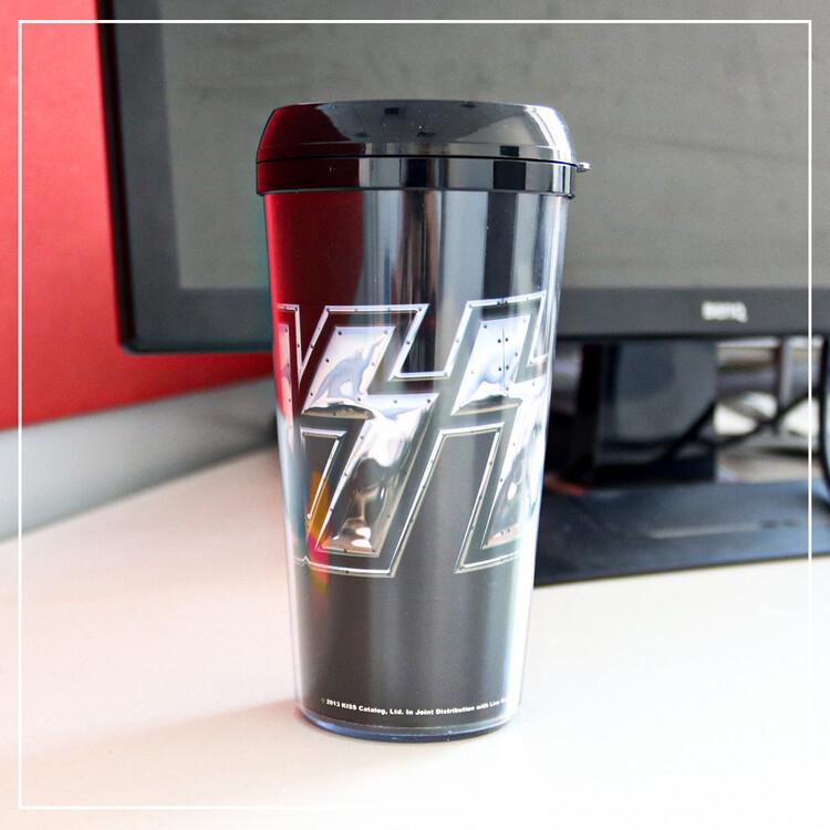 Travel mug Kiss - Chrome Logo Plastic