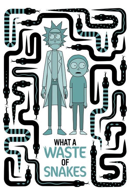 Murais de parede Rick and Morty - Waste of snakes