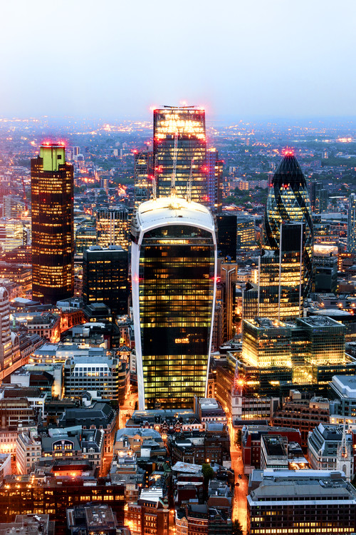 Murais de parede View of City of London with The Walkie-Talkie and The Gherkin Buildings