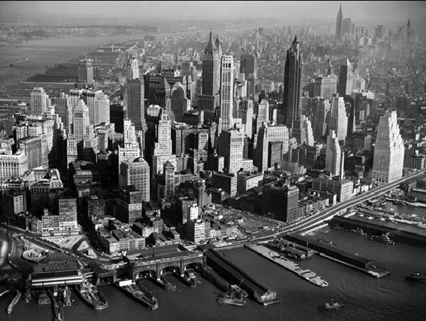 New York - Aerial view of downtown Manhattan, 1956 Reproduction d'art