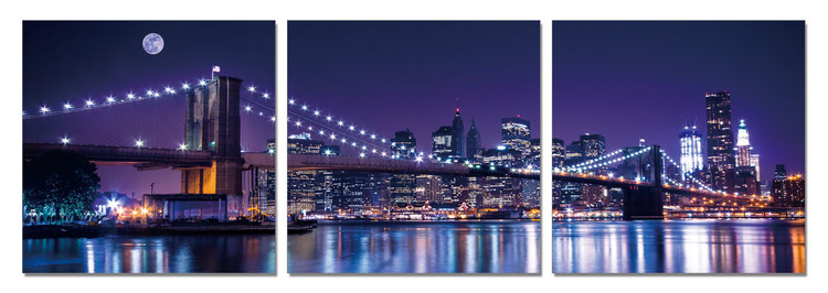 New York - Brooklyn Bridge at Night Tableau Multi-Toiles