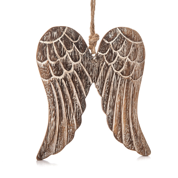Angel Wings Wooden Hanging Decoration, 13 cm Objectos Decorativos