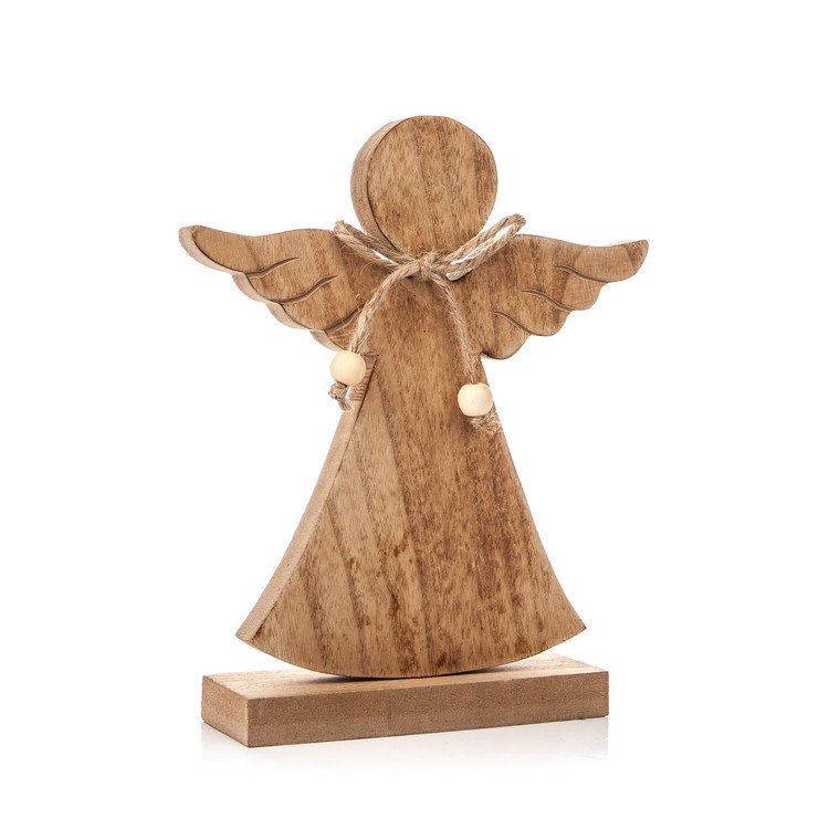 Angel Wooden with Bow, 21 cm Objectos Decorativos