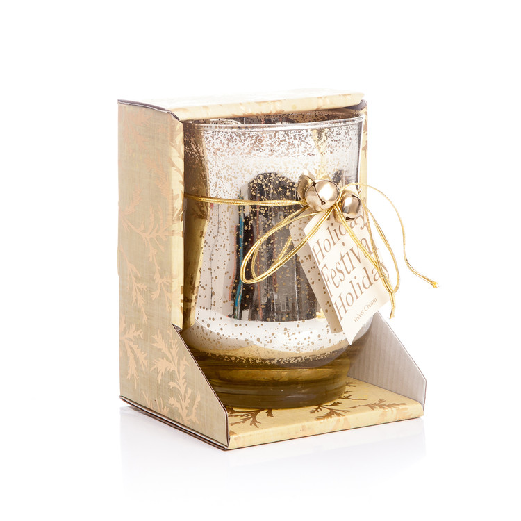 Candle in Glass - Cinnamon, Gold 10x13cm Objectos Decorativos