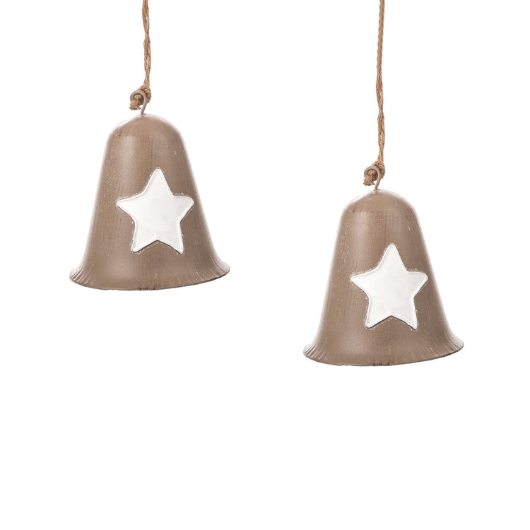 Metal Bell White Star, 8 cm, set of 2 pcs Objectos Decorativos